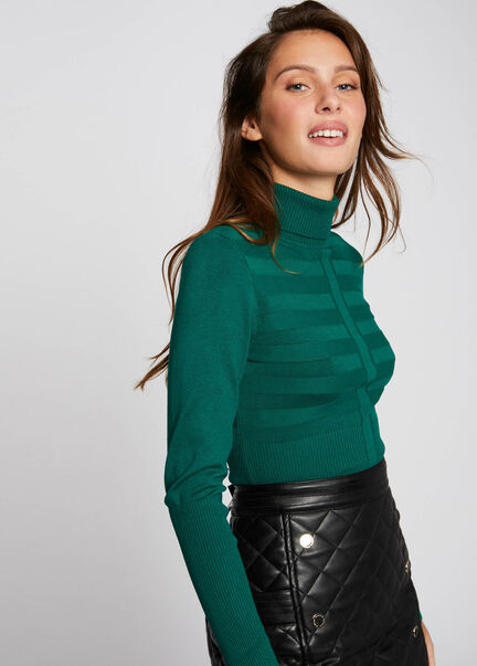 Pull manches longues col roule vert femme