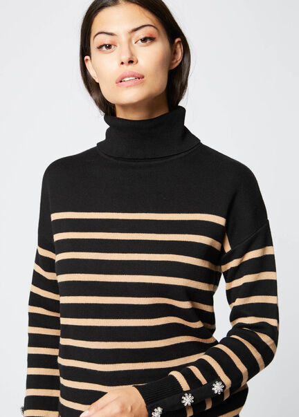 Pull manches longues raye col roule noir femme