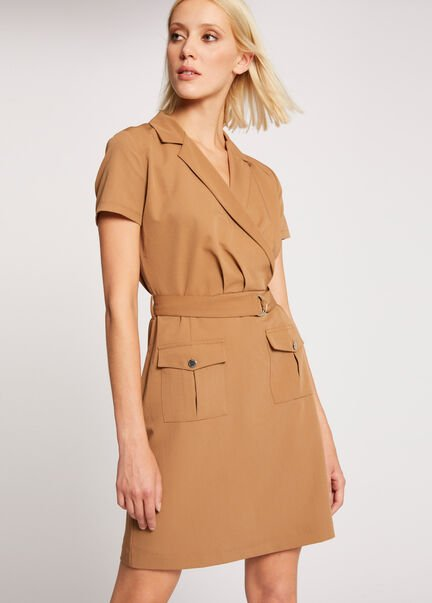 Robe cintree ceinture col a revers camel femme