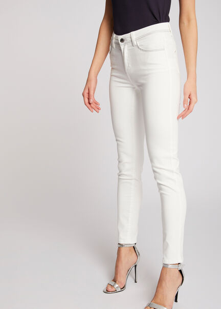 Jeans slim taille standard blanc femme