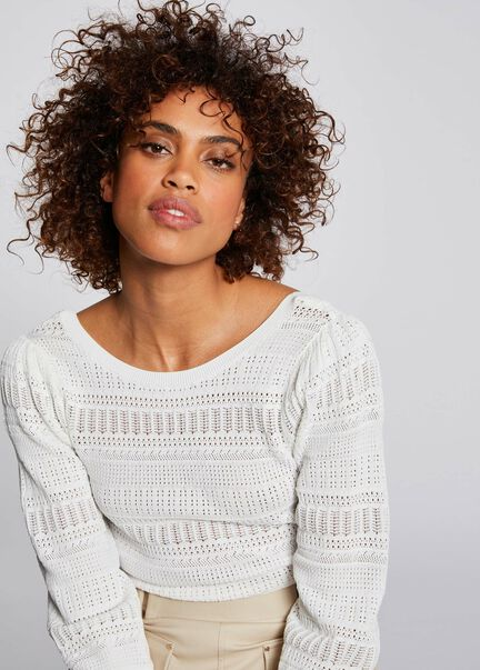 Pull manches 34 a details ajoures ecru femme