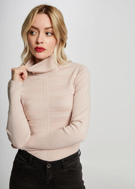 Pull manches longues a col roule rose pale femme