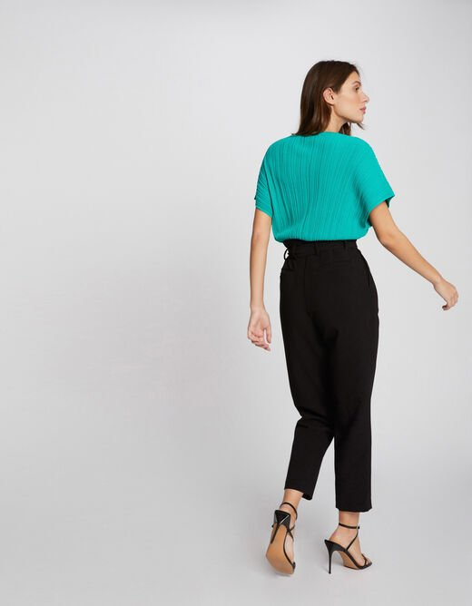Pull manches courtes amples vert femme