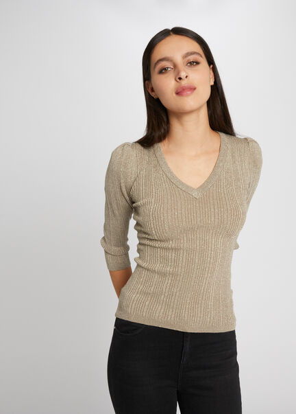 Pull manches 34 tricotage en cote taupe femme