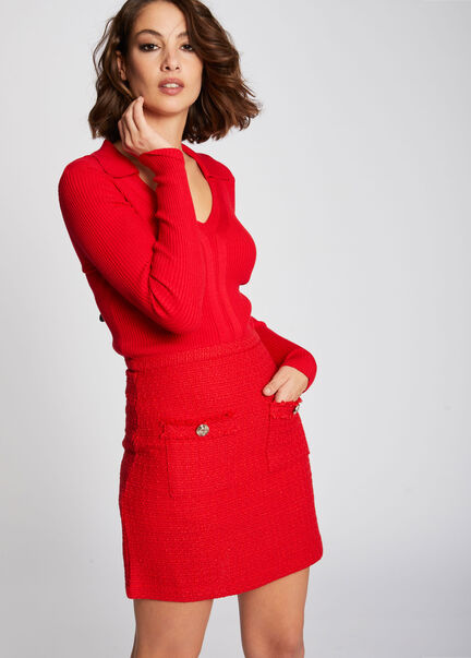 Robe ajustee en maille poches plaquees rouge femme