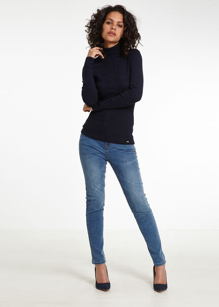 Pull manches longues col roule marine femme
