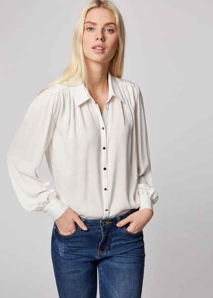 Chemise manches longues col a revers ecru femme