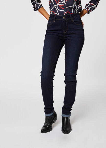 Jeans slim taille standard a poches jean brut femme