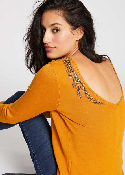 Pull manches longues dos ouvert bijou ocre femme
