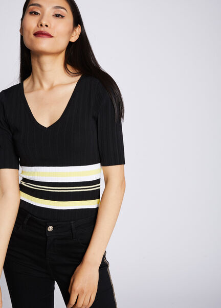 Pull manches courtes raye maille fine noir femme