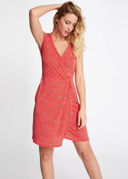 Robe portefeuille a pois rouge femme