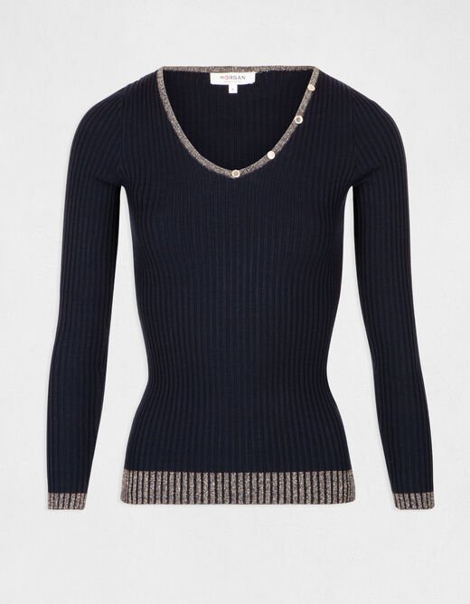 Pull manches longues détail boutons marine femme