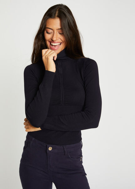 Pull manches longues detail plisse marine femme