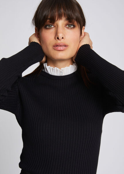 Pull manches longues col fronce noir femme