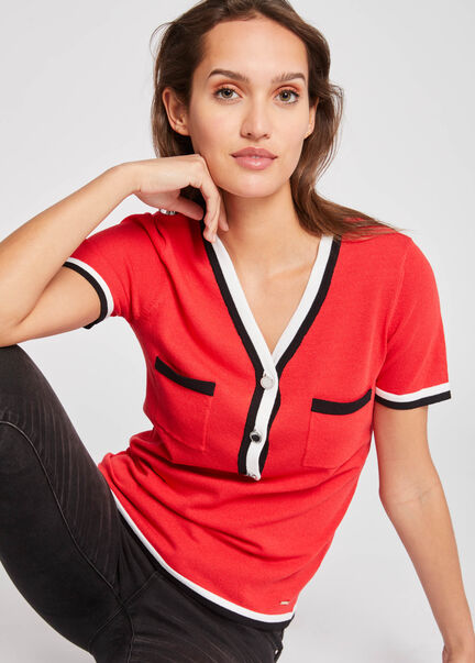 Pull manches courtes avec details rayes rouge femme