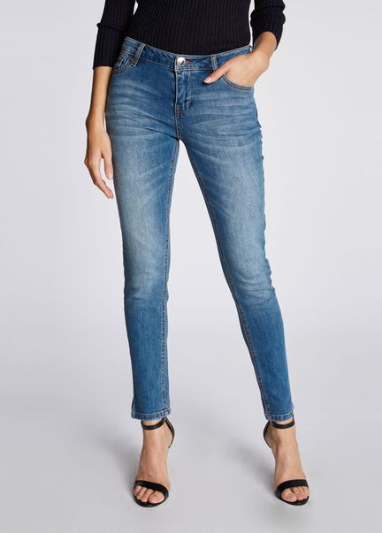 Jean stretch effet used studs jean stone femme