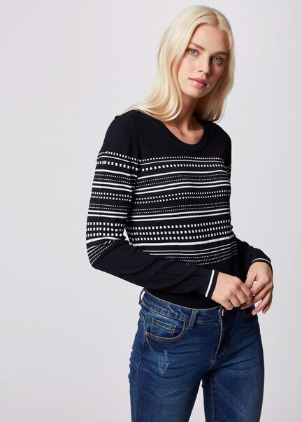 Pull manches longues a rayures marine femme