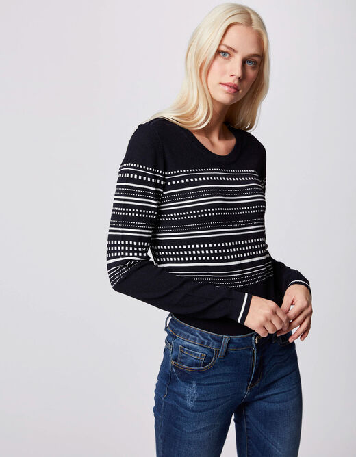 Pull manches longues à rayures marine femme