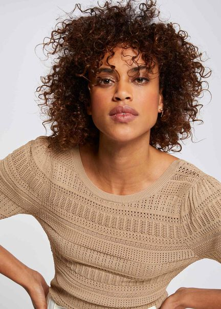 Pull manches 34 a details ajoures sable femme