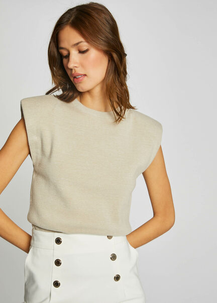 Pull manches courtes a epaulettes beige femme