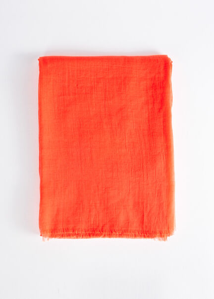 Foulard a bords francs orange femme