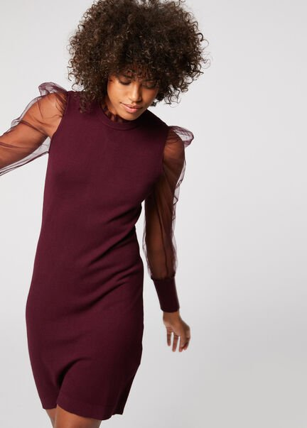 Robe pull ajustee a manches bouffantes bordeaux femme