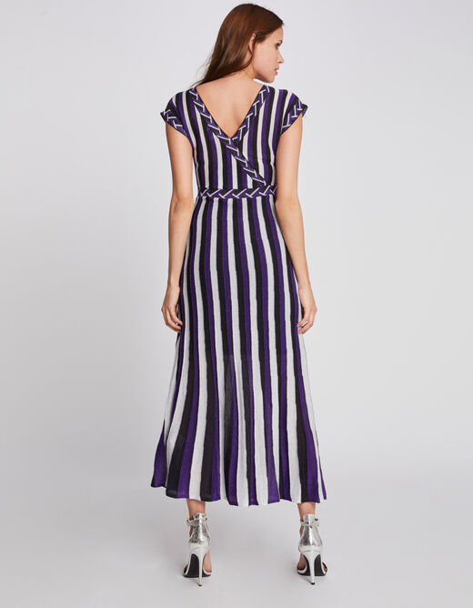 Robe Maille Longue Cintree A Rayures Violet Femme Morgan