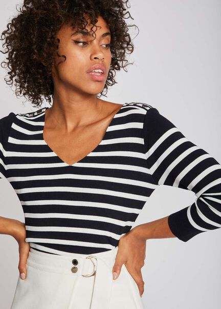 Pull manches 34 mariniere avec boutons marine femme