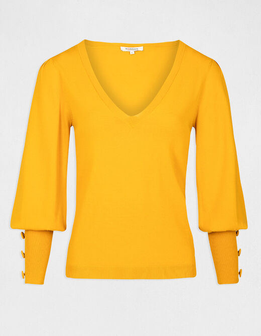 Pull manches longues bouffantes ocre femme
