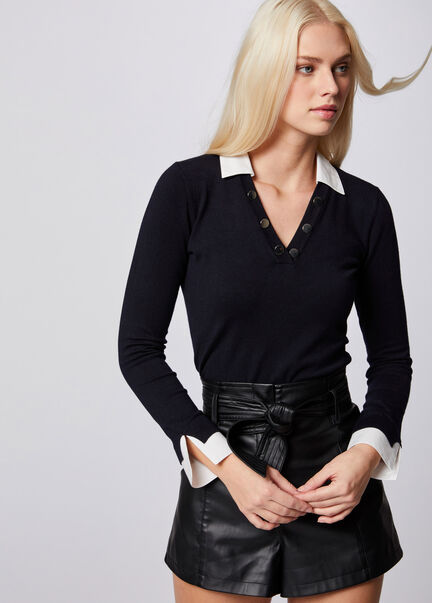 Pull manches longues avec col superpose marine femme
