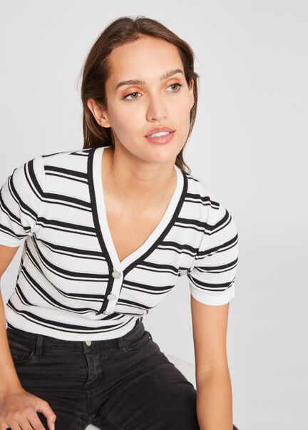 Pull manches courtes boutonne a rayures ecru femme