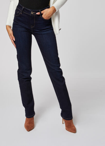 Jeans regular taille standard a poches jean brut femme