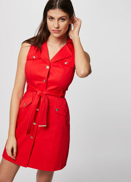 Robe trapeze taille ceinturee rouge femme
