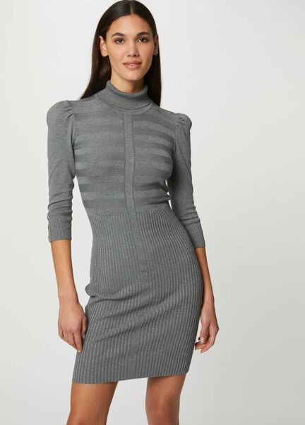 Robe pull ajustee a col roule gris anthracite femme