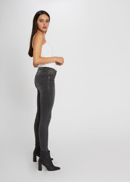 Jeans skinny taille standard a strass gris moyen femme