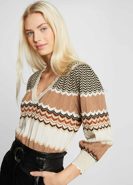 Pull manches longues a rayures sable femme