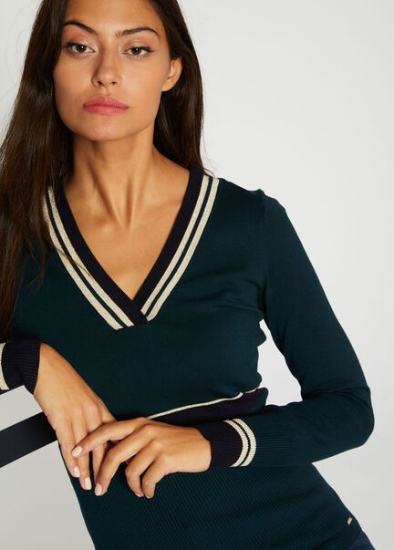 Pull manches longues bande a la taille vert fonce femme