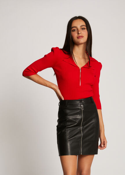 Pull manches 34 zippe rouge femme
