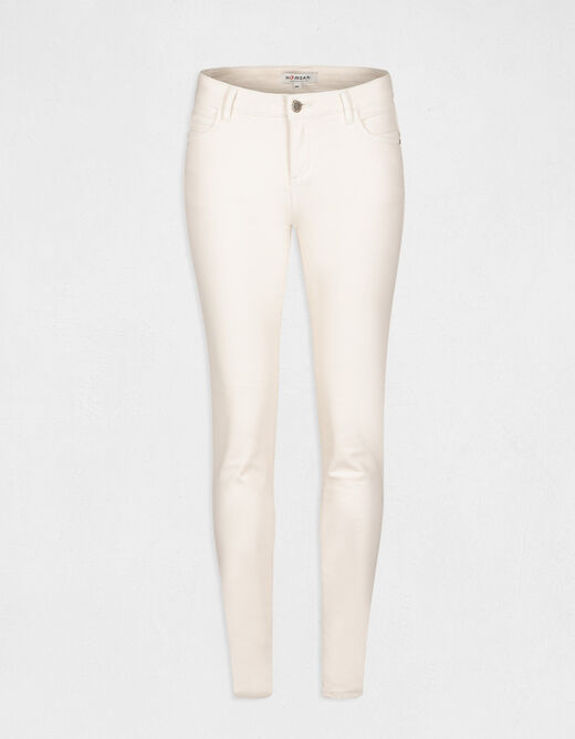 Jeans skinny taille basse ivoire femme
