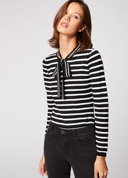 Pull manches longues a rayures noir femme
