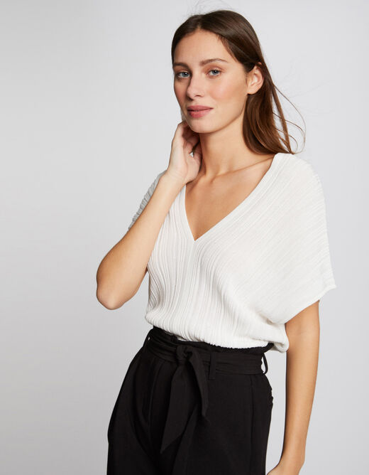 Pull manches courtes amples ecru femme