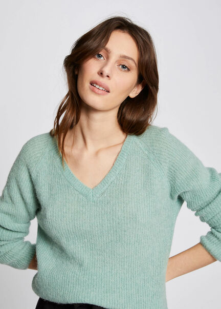 Pull manches longues maille duveteuse vert clair femme