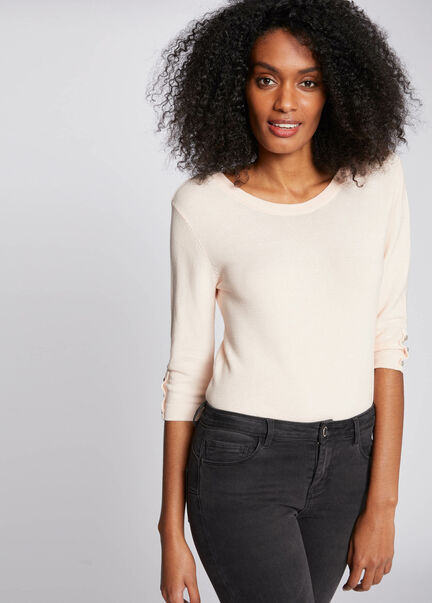 Pull manches 34 avec dos ouvert rose pale femme