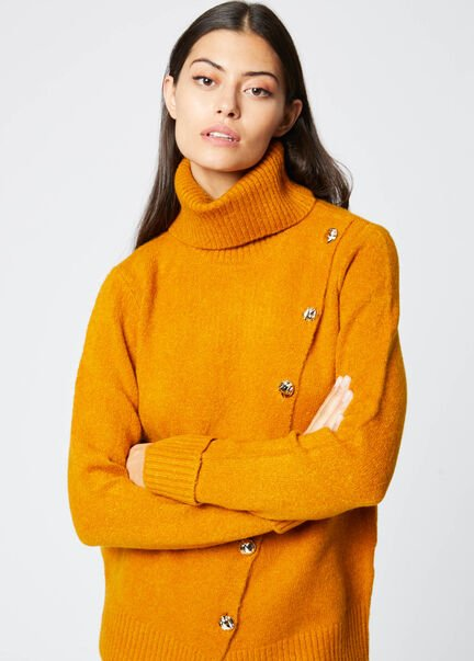 Pull col roule manches longues bouton or ocre femme