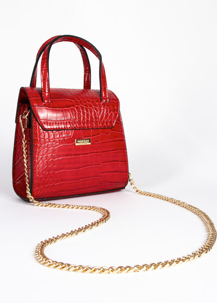 Sac besace aspect texture croco rouge femme