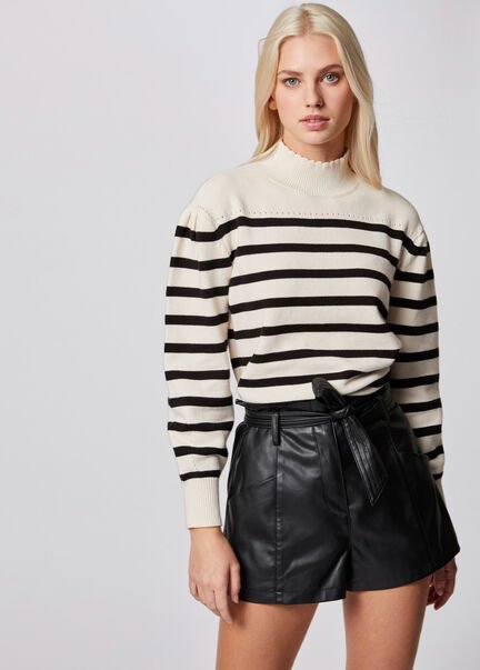 Pull manches longues a rayures ivoire femme