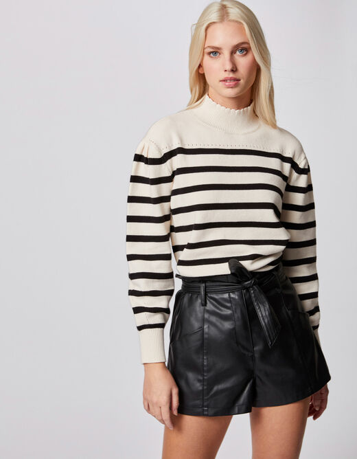 Pull manches longues à rayures ivoire femme