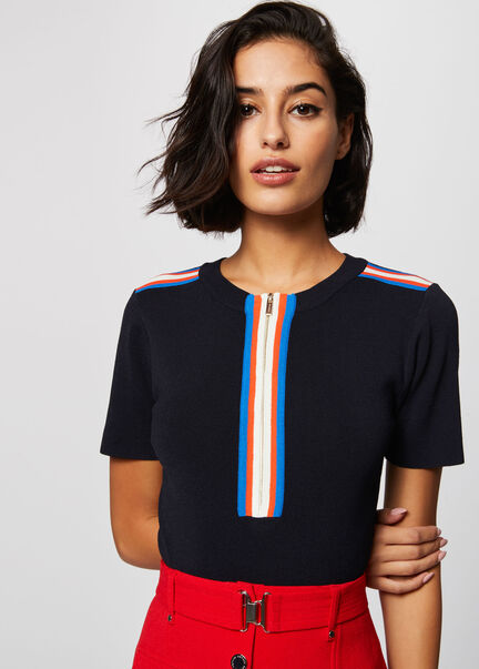 Pull manches courtes zippe a col rond marine femme