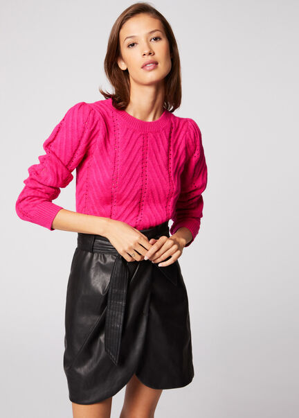 Pull manches longues details ajoures fuchsia femme