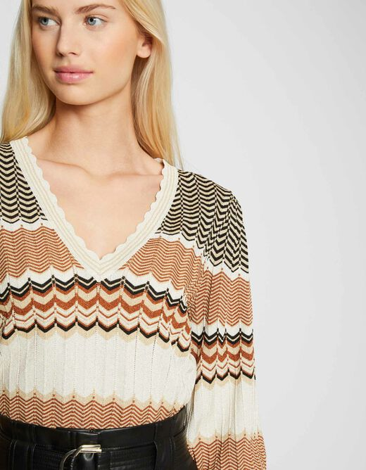 Pull manches longues à rayures sable femme